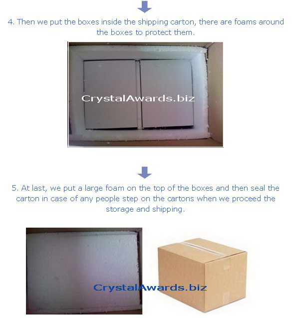 crystal awards shipping carton with foams protected